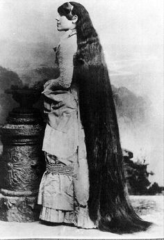 Victoria Sutherland (1849 - 1902). Victoria Sutherland was the most beautiful lady of the seven sisters and the one with the longest hair, which reached seven feet (210cm). Read an article about the Seven Sutherland Sisters at: http://new.yankeemagazine.com/article/amazing-seven-sutherland-sisters-and-their-niagara-curls