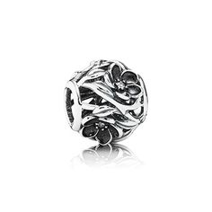 PANDORA Mystic floral openwork charm in sterling silver and black enamel flowers with clear cubic zirconia. $55 #PANDORAcharm