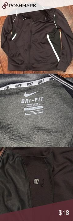 🎀 Nike Women's Dri-Fit track jacket, dk gray M EUC Women's track jacket with white trim and interior pocket for headphones Nike Jackets & Coats
