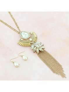 Half Way to the Moon Goldtone Necklace and Earring Set