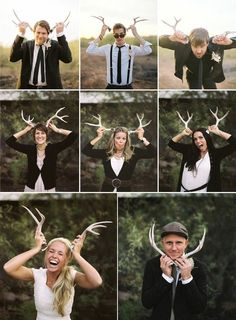 Deer antler photo props are awesome for a rustic green wedding photobooth!