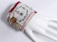 Fabric Cuff Bracelet Crown Bee Art Diva Romantic Wrist Collage Cuff