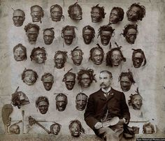 Major General Horatio Gordon Robley with his collection of tattooed Maori heads, 1895 40 Historical Photos, 10 of which will Drop your Jaw! Vintage Bizarre, Creepy Vintage, Photo Truquée, Vintage Photographs, Vintage Photos, Berlin, Shrunken Head, Maori People, Major General