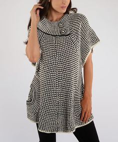 Look what I found on #zulily! White & Black Cape-Sleeve Tunic by Shoreline #zulilyfinds