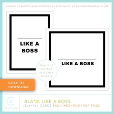 Quality DigiScrap Freebies: Blank Like A Boss journal card template freebie from CZ Design