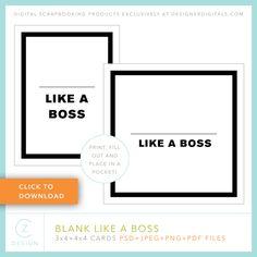 Quality DigiScrap Freebies: Blank Like A Boss journal card template freebie from CZ Design