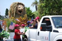 In the spirit of reduce, reuse and recycle, LMU's float reused the frame of Iggy the Lion from in the 2012 Tournament of Roses Parade in the Westchester FourthofJuly parade