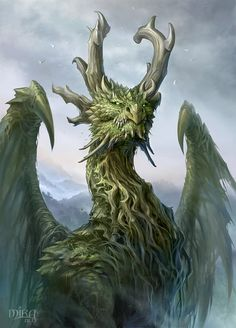 Noble green dragon / fantasy monster / beast / mythical creature