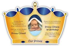 Handmade Little Prince Crown Invitation Golden with Royal Blue rhinestones Shower Invitations, Invitation Cards, Scramble Game, Prince Crown, Font Face, Nautical Theme, Card Sizes, Accent Colors, Christening