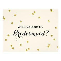 Gold Glitter Confetti | Bridesmaid 4.25x5.5 Paper Invitation Card