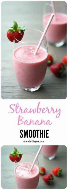 This delicious and healthy strawberry banana smoothie contains the perfect combination of strawberries and banana to leave you refreshed and sustained. This delicious and healthy strawberry banana smoothie contains the perf Healthy Afternoon Snacks, Healthy Breakfast Smoothies, Healthy Strawberry Banana Smoothie, Healthy Detox, Healthy Juices, Apple Smoothies, Easy Smoothies, Homemade Smoothies, Vitamins