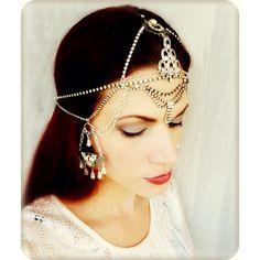 Holiday Sale 10% Off Gypsy Rhinestone Art Deco Headpiece - Wedding... ($268) ❤ liked on Polyvore