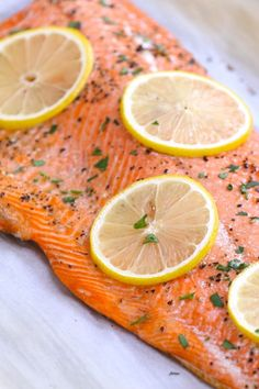 Delicious wild sockeye salmon baked to perfection with salt, pepper and lemon slices and garnished with minced fresh parsley Sockeye Salmon Recipes, Baked Salmon Recipes, Fish Recipes, Recipe For Wild Salmon, Cake Recipes, Recipies, Salmon And Broccoli, Lemon Salmon, How To Cook Monkfish