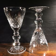 SOLD Pair of nice quality, cut wine glasses. Rather unusual profile, with very holdable knops and luxury look. Perfect order. Late.          B.G.  6065                             £20