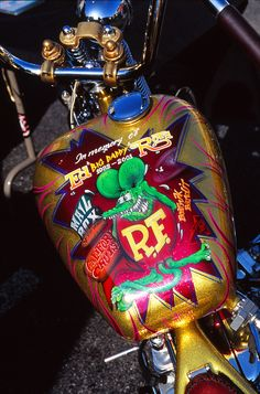 ❦ harleypics: Rat Fink Tribute to Ed Big Daddy Roth on Indian Larry's Gas Tank.
