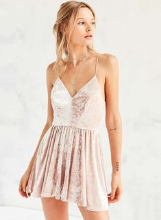 Pink Deep V-Neck Velvet Spaghetti Strap Mini Dress