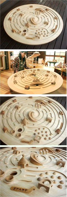 Large Swivelling Wooden Labyrinth by Ginga Kobo Toys, Japan - An immense spacesh., Large Swivelling Wooden Labyrinth by Ginga Kobo Toys, Japan - An immense spaceship labyrinth with a diameter of The marblesque 3 cm. Wood Projects, Woodworking Projects, Design Projects, Wood Crafts, Diy And Crafts, Wood Games, Wood Toys, Glass Ball, Diy Toys