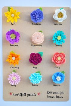CUSTOM Single Felt Flower Magnet Wool Felt by heartfeltpetals CUSTOM Single Felt Flower Magnet Wool Felt by heartfeltpetals, Felt flowers, vario:: Set of 3 Custom Felt Flower Planner Clip :: ~ The felt flowers measure approx diameter and around deep Paper Flowers Diy, Handmade Flowers, Flower Crafts, Fabric Flowers, Felt Flowers Patterns, Felt Flower Wreaths, Felt Flower Diy, Felt Flower Pillow, Felted Flowers
