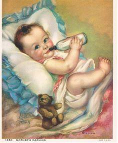 Mothers Darling Laurette Patten Calendar Art Print by RedfordRetro Baby Calendar, Print Calendar, Baby Illustration, Antique Illustration, Vintage Illustrations, Pictures To Paint, Print Pictures, Vintage Children's Books, Vintage Kids