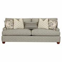 "Add a classic touch to your living room seating group or home library with this lovely sofa, showcasing welted grey upholstery and included pillows.  Product: SofaConstruction Material: Fabric, wood, and down fillColor: GreyFeatures: Accent pillows includedDimensions: 33"" H x 87"" W x 41"" D"