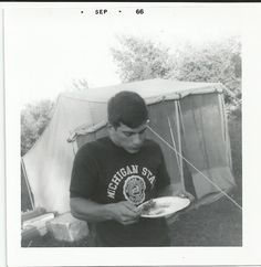 Vintage Old Photo Cute Boy Wears MICHIGAN STATE shirt Eating Camping Tent 1966