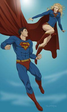 Commish:Superman and Supergirl by *doubleleaf on deviantART