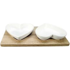 Country Heart Pair of Dip Dishes on a Wooden Plinth