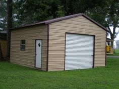 Single Door Design Of Prefab Garages Finished In Classic Design Green View And White Door And Glass Window Design