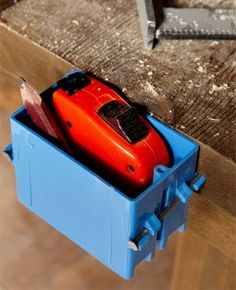 Tape Measure Box - Plastic electrical boxes make convenient houses for tape measure storage.