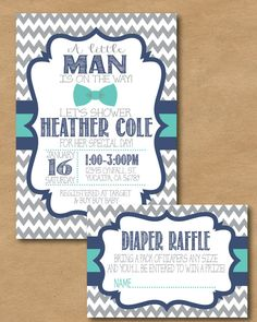 Little Man Chevron Baby Shower Invite and Diaper Raffle Card