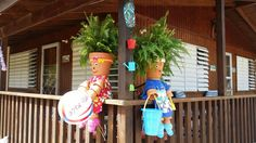 Tropical beach house pot people