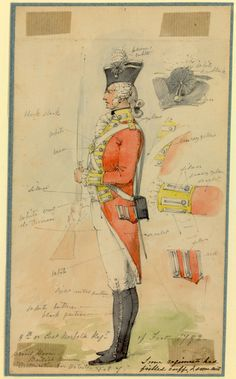 British; 9th (East Norfolk) Regiment of Foot, Private Centre Company, 1792. Uniform study by Edward Scott