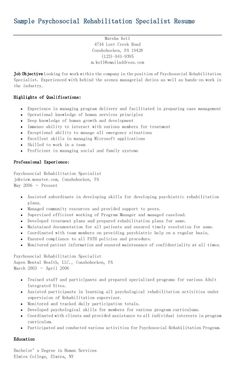 sample psychosocial rehabilitation specialist resume - Seo Specialist Sample Resume