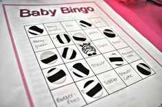 Bingo game for Pink Zebra Baby Shower.