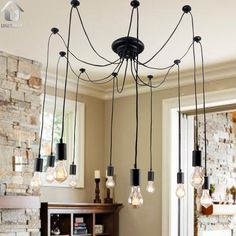 $95!!! Unitary Brand Antique Black Large Barn Chandelier with 10 Lights Painted Finish Bulbs Included