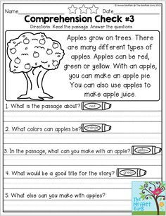 Reading Comprehension Checks for September- Monthly NO PREP Comprehension Checks… You are in the right place about Reading Comprehension elementary Here we offer you the most beautiful pictures about First Grade Reading Comprehension, Reading Comprehension Worksheets, Reading Fluency, Reading Passages, Kindergarten Reading, Reading Activities, Reading Skills, Teaching Reading, Comprehension Strategies