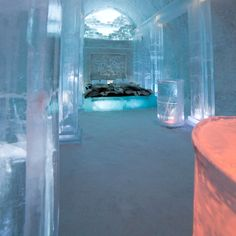 Sleep Span room at the Ice Hotel in Sweden. Hotel made of ice and snow. Hotels And Resorts, Ice Hotel Sweden, Places To Travel, Places To See, Ice Castles, Lappland, Art And Architecture, Contemporary Architecture, Travel