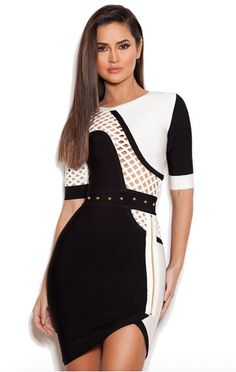 Clothing : Bandage Dresses: 'Imari' Black and white Mid Sleeve Bandage Dress Dresses For Less, Party Dresses For Women, Celebrity Outfits, Celebrity Style, New Party Dress, Cocktail, Bodycon, Mid Length Dresses, Cutout Dress