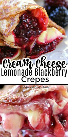 Cream Cheese Lemonade Blackberry Crepes are a delicious breakfast treat loaded with cream cheese lemonade filling and fresh blackberries. Yummy Treats, Delicious Desserts, Yummy Food, Healthier Desserts, Sweet Treats, Brunch Recipes, Snack Recipes, Cooking Recipes, Waffle Recipes