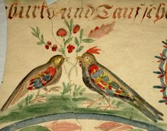 Antique Early 1800s PA German Watercolor Family Record Taufschein Fraktur | eBay
