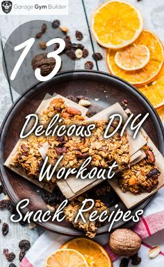 In this article, we present 13 delicious recipes for homemade protein bars, brownies, pancakes, cookies and pudding - http://garagegymbuilder.com/diy-workout-snack-recipes/