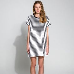 "The Fifth | White Black Striped Sweatshirt Dress The Building Blocks T-shirt Dress is a terry cloth material mini t-shirt dress with a contrast neckline. Ultra soft. Perfect weight to transition from seasons. White and Black Stripe. Designer carried by Nasty Gal.  65% polyester / 35% cotton Designed in Australia   Measurements:  Medium: Length 34"", Waist 42"", Bust 40"", Hip 44""  Large: Length 34"", Waist 46"", Bust 44"", Hip 48""  This item is available in 2 sizes, please contact for…"