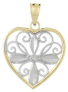 Amazon.com: 14k Gold Fashion Necklace Charm Pendant, Fashion Heart With Flower & White Beade: Million Charms: Jewelry