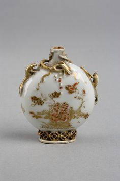 Chinese Snuff Bottle  ~  1750-1795  Porcelain, painted and gilded, with relief decoration
