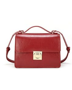 Leather Retro Satchel Bag with Metal Lock 8-Winered