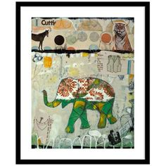 "Elephant Pattern 30"" High Framed Wall Art -"