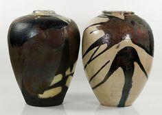 Pair of large ceramic vases, Japanese studio pottery, illegible initials underside of base,