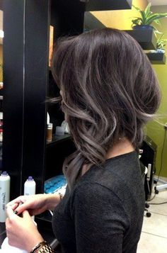 The grey hair color trend has taken the internet by hurricane. In this gallery you will find 25 New Gray Hair Color ideas that you can accomplish the granny hair look and join in the latest fashion trend! Hair Color And Cut, Hair Highlights, Black Hair Grey Highlights, Balayage Hair, Gray Balayage, Great Hair, Hair Today, Gorgeous Hair, Dark Hair