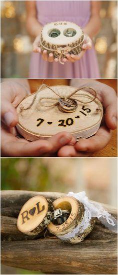 rustic tree stump wedding ring holder ideas / http://www.deerpearlflowers.com/rustic-woodsy-wedding-trend-tree-stump/ #rustic #rusticwedding #countrywedding #weddingideas #wedding #dpf #deerpearlflowers