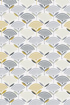 Dandelion Saffron (5785/526) - Prestigious Fabrics - An all over fabric design featuring a stylized dandelion motif. Shown here in blue, taupe and yellow. Other colourways are available. Please request a sample for a true colour and texture match.